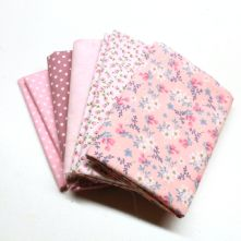 Pack of 5 100% Cotton Mixed Prints Pink Fat Quarters